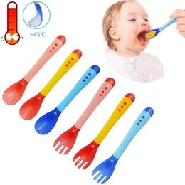 Wholesale temperature spoons - Baby Safety Silicone Spoons Forks Warm Temperature Sensing Colour Food Grade Soft Handle soup Spoons Kids Feeding Flatware LJJA560