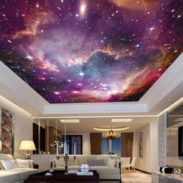 fondo de pantalla del cielo Rebajas Papel pintado no tejido Tela Universo cielo estrellado KTV bar 3D del fondo del tema etiqueta de la pared de techo Galaxy murales de Ww 22jy