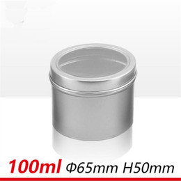 Wholesale Tin Candles Wholesale - 80pcs lot 100ml Great Survival Candle Tins 3.5oz DIY Candle Tin Jars w  Window View Caps Empty Aluminum Dry Storage solid perfume container