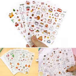 Wholesale diary for girls - 6 Sheet Kawaii Funny Stickers Rabbit Paper Sticker for Kids Animals Small Sticker for Children Diary Decor Cartoon Car Sticker