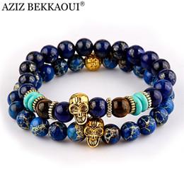 Cuentas de bronce de 8 mm. online-AZIZ Nuevo Diseño de Joyería de Yoga 8mm Azul Sedimento de Mar Grano de Piedra con Bronce de Color Oro Pulseras de Granos del Cráneo Para Mujeres hombres