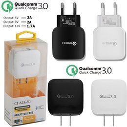 Wholesale solar charger adapters - Fast Quick Charging QC 3.0 US EU Adaptive3A Ac home travel wall charger power adapter for samsung s7 s8 iphone 7 8 +Retail Box Cable