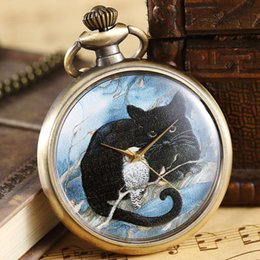 watches cat designs Promo Codes - Retro Bronze Cute Cat Design Quartz Pocket Watch Chain Pendant Vintage Fob Clock Necklace Children Boys Gift Christmas