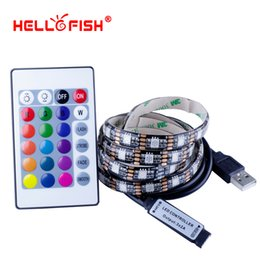Wholesale Fishing Controller - Hello Fish 5V USB 5050 LED strip lightpack USB Cable and 1M LED strip 24key Controller kit ambilight TV
