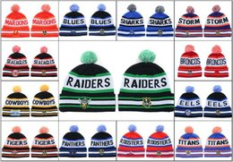 Wholesale Cheap Pom Hats - 2018 Newest Men's Sport NRL Fashion Knitted Beanies National Rugby League Beanie Caps Cheap Green Color Pom-Pom Cuff Beanie Hats