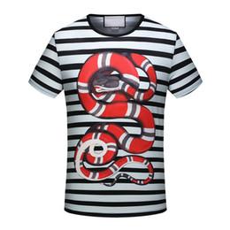 Wholesale Long Tee Shirts For Women - 2018 new Summer black white stripe snake print famous Brand for men T-shirt Designer luxury tshirt Runway Tees cotton women Casual Tops