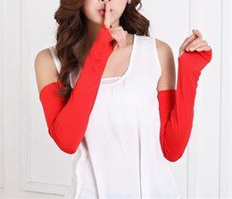 Wholesale pink hand cuffs - 200Pair Women Sunscreen Arm Warmer Half Finger Cotton Long Fingerless Gloves Cuff Sun Hand Protection Anti-UV Simple Design