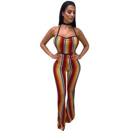 79a0fad6a04 Sexy Women Jumpsuit Colorful Stripes Halter Backless Flared Pants Slim Playsuit  Rompers Orange Combinaison Femme 2019 Clubwear