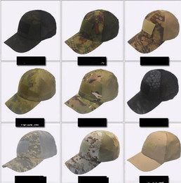 Wholesale camouflage caps hunting - Tactical Cap Camouflage Breathable Baseball Mesh Caps Hats Tactical Hip Hop Adjustable Bicycle Sun Block cap for Men Women LJJK969