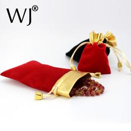 Roter schwarzer armbandring online-Wholeslae 50pcs 7 * 9cm Rot Schwarz Schmuck Beutel Samt Geschenktüten Hochzeit Bevorzugungen Ring Armband Anhänger Halskette Lagerung Kordelzug