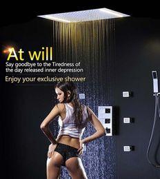 Wholesale Led Shower Body Spray - Spa Auto-Thermostat Shower Set with 50x36cm LED Rain Shower Head 6 Body Spray Bathroom Hand Spray