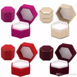 velvet ring display case Promo Codes - Hexagonal Finger Ring Box Jewelry Display Holder Velvet Ring Storage Box Case Container For Ring Earrings Xmas Gift 7Colors HH7-1376