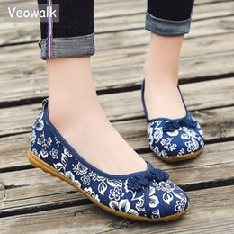 ce0928e569853 2019 Casual Veowalk Chinese Knot Women Floral Fabric Ballet Flats Spring  Summer Vintage Ladies Comfort Slip on Canvas ballerinas Shoes