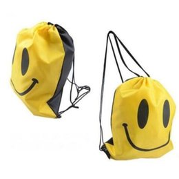 Wholesale Drawstring Bags For Children - Cute Emoji Drawstring Bags for Women Mens Children Cartoon Emoji Backpacks Fashion Smile Printed Student bagsSmile Drawstring bag KKA4311