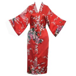 chinese women dress sexy Promo Codes - Chinese Women Wedding Print Peacock Robes Sexy Red Satin Knee-length Sleepwear Home Wear Female Nightgown Kimono Bath Dress Gown