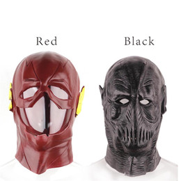 Wholesale party vinyl - Vinyl glue blackhead full face cosplay the flash mask black hollaween party scary mask for holiday realistic masquerade masks