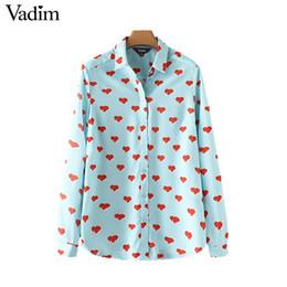 Wholesale Hearts Blouses - Vadim women cute heart pattern shirts long sleeve turn down collar blouses autumn female casual brand tops blusas LT2413