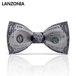 2019 funky bögen Lanzonia weißes lustiges Geld kopierte Querbinder für Männer Funky einzigartiger Dollar-Druck Bowtie modische Neuheit Neckwear günstig funky bögen