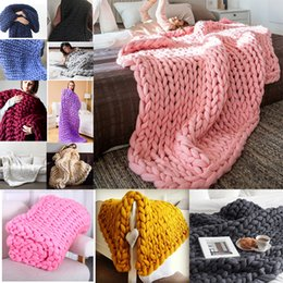 Wholesale Fleece Towel - 2018 Hand Weaving Photography Prop Blanket Chunky Knit Merino Wool Handmade Blanket Weave Knitted Soft Thick Line Blankets for Sofa Bedroom