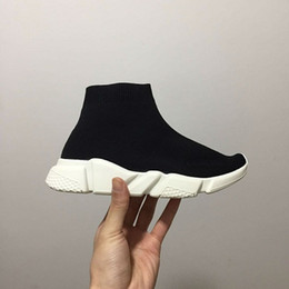 Wholesale Kids Runners - Wholesale Luxury Sock Speed Trainer Running Shoes Black Red Kids' Sneakers Race Runners Fashion Top Boots Size 26-45
