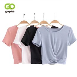 Wholesale white crop tie top - GOPLUS Women Twist Tied T-Shirt Knitted O-Neck Short Sleeve Cute Cropped Tops Summer Casual Solid Tee Short Tshirts Female Tees