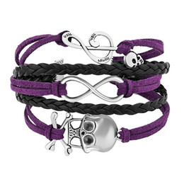 Wholesale Leather Bracelet Music - AFSHOR 2018 new fashion Music Note Infinity Skull Handmade Rope Wrap Leather Bracelet For Women Girls AF007