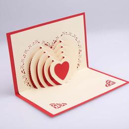 Wholesale Valentine Postcards - 3D Pop Up Heart Shape Card Postcards Greeting Card Decoration Happy Anniversary Birthday Valentine Christmas