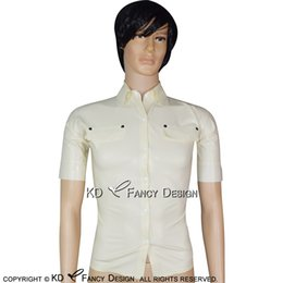 c6f0bfd83aebfa White Sexy Latex Shirt With Buttons At Front And Buttons At Sleeves Turn  Down Collar Rubber Top Clothes Clothings YF-0164 inexpensive latex shirt  sexy