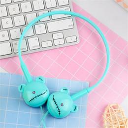 Osos auriculares online-Oso de dibujos animados estéreo gancho para la oreja auriculares auriculares con micrófono 3.5mm auriculares deportivos para estudiantes niñas niños regalos