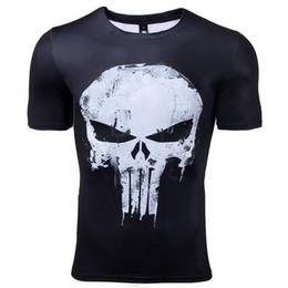 2019 camisa de esqueleto 3d Camisetas de compresión con cuello en O para hombres Camisetas impresas en 3d Camisetas de manga corta Cosplay Fitness Body Building Hombre Crossfit Tops Punk Skull Skeleton camisa de esqueleto 3d baratos