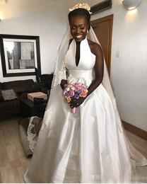 Wholesale White Taffeta Empire Wedding Dresses - 2018 Simple White Taffeta A Line Wedding Dresses High Neck Empire Waist Garden Bridal Gown Custom Made Hot Sale