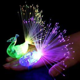 Wholesale Light Up Gadgets - Peacock Finger Light Colorful LED Light-up Rings Party Gadgets Kids Intelligent Toy For Kids Color Random