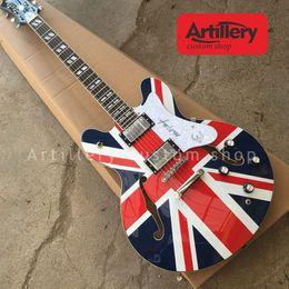 Usine personnalisé Union Jack jazz guitare f trou corps semi-creux corps guitares électriques avec touche en bois de rose magasin d'instruments de musique ? partir de fabricateur