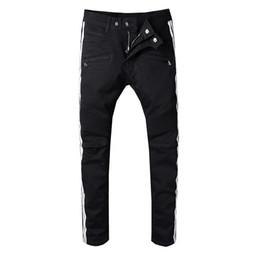 Wholesale plus size blue jeans - Balmain clothing designer pants slp blue black destroyed mens slim denim straight biker skinny jeans men ripped jeans