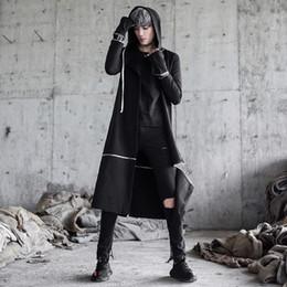 Wholesale korean overcoat mens - Men punk hip hop trench coat long jackets nightclub singer black costume mens gothic hooded cloak overcoat korean removable coat
