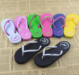 Wholesale Patterned Stockings - Girls love Pink Sandals Candy Colors Pink Letter Slippers Shoes Summer Beach Bathroom Casual Rubber Slides Flip Flop Sandals in stock