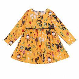 2019 vestidos de impresión amarilla 2018 Nuevo Otoño Niñas Vestidos INS Baby Girl Moda Amarillo Manga Larga Floral Impreso Vestido de Princesa Ropa para Niños Vestidos Boutique Ropa rebajas vestidos de impresión amarilla