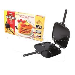 Sartenes para hacer panqueques online-Antiadherente Flippin Fantastic Pancake Pan Flip Perfect Breakfast Maker Huevos Omelette Flipjack Tools 4 Grids Cake Maker 25hf Y