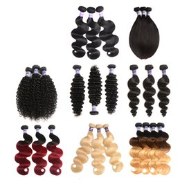 Wholesale Afro Kinky Straight Human Hair - Ombre Brazilian Remy Human Hair Extension Body Wave deep wave Bundles afro kinky curly loose wave Hair straight Weave Natural black Color