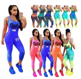 Wholesale tank top set - Love Pink Letter Tracksuit Sleeveless Scoop Neck Tank Top Crop leggings Gradient Color Block Set Women Fitness Sports Gym Vest Pants Suits
