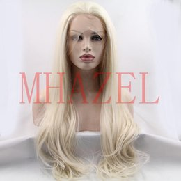 Wholesale Platinum Long Wigs - MHAZEL platinum blonde #60 long natural wavy straight synthetic glueless heat resistant fiber wig black women
