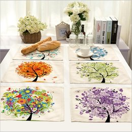 Wholesale Dishware Wholesale - Hot Sale Colorful Tree Placemat Cotton Linen Drawing Table Mat Dishware coasters For Dinner Accessories Cup Wine mat