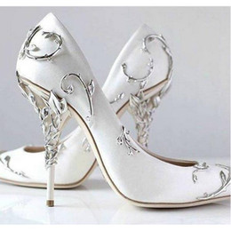 Wholesale Cocktail Women - 2018 pink blue satin bridal wedding shoes Pointed eden pumps Women high heels 9 cm with leaves shoes for evening Cocktail prom party