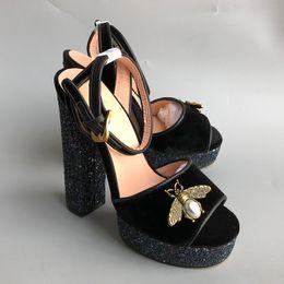 Wholesale Chunky Heel Silver Shoes - High Heel Platform Sandals Brand Designer Women Summer Runway Heels Peep Toe Models Fottwear Shoes Luxury Designer Chain Shoes size35-41