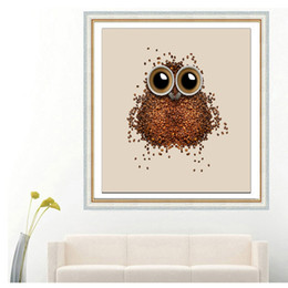 Coruja home decorações on-line-Coruja Feijão De Café 5D Diamante Ponto Cruz Bordado Coruja Toda a Decoração Home DIY Pintura sem Quadro