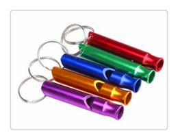 Mini lega di alluminio all'ingrosso fischio portachiavi portachiavi per sicurezza di emergenza all'aperto di sicurezza sport campeggio caccia colore casuale da