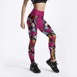 61b396c377 Chinese 2018 Women Yoga Pants Colorful Butterfly 3D Printed Slim Fitness  Workout Sports Leggings Push Up