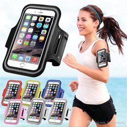 Wholesale Water Arm Bands - 2018 Waterproof PU Sports Running Arm Band Phone Case Holder Pouch For iPhone X 8 7 6 6S Plus SE Workout Gym Cover Bag