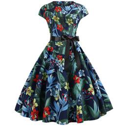 Casual Summer Vintage Dress Femmes 2019 Sexy Années 50 Années 60 Floral Print Robes De Soirée Élégant Rouge Rétro Swing Manches Courtes Ceinture Tunique ? partir de fabricateur