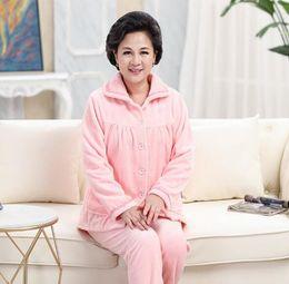 Fdfklak Casual autumn winter pyjamas women flannel and coral fleece pajamas  set woman sleepwear home suit warm pijamas sets dbe3de2ec